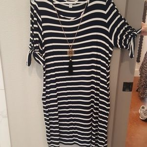 Cold shoulder sailor style tee dress